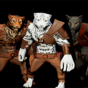 Fantasy RPG style Tiger and Wolf man beast warrior.