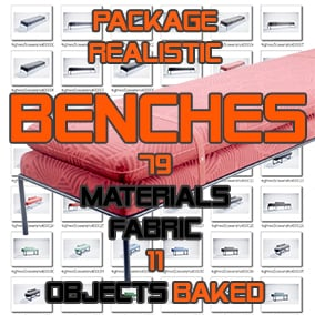 Package of realistic Bed Benches. 11 unique meshes including 79 materials and textures baked
