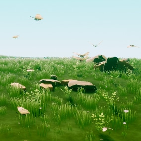 Stylized meadow environment with interactive foliage system, water, low-poly birds, and butterflies.