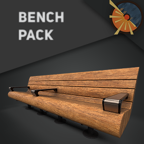 Bench collection with PBR textures, different styles of seats with or without backrests