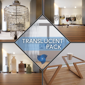Translucent glass, plastic and curtain package