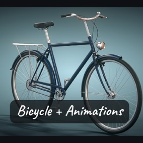 City Bicycle 3D model rigged and animated along with Mannequin animations