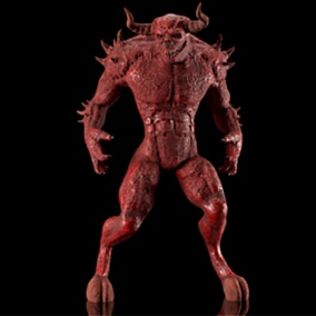 The low poly character Big Red Demon from the Underworld, which is great for your project, has 23 animations. Monster using custom skeleton.