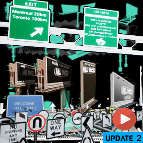 Road signs, Create your own adverts! A modular collection of more than 50 billboard pieces assembled into a set of six customizable blueprints with both image and video ad displays. ALLPACS