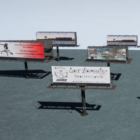 A collection of roadway billboards in different styles and types. Includes sample art.