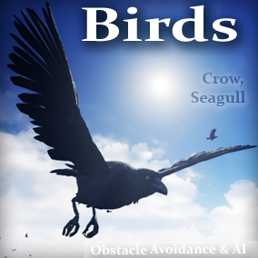 Animals for your game environments by Living Systems. Add interactive Birds (Crows, and Seagulls) to your game environments. Drag and drop easy. Built in obstacle avoidance.