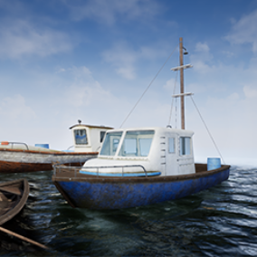 3 Small sized fishing boats and props pack, done in realistic style