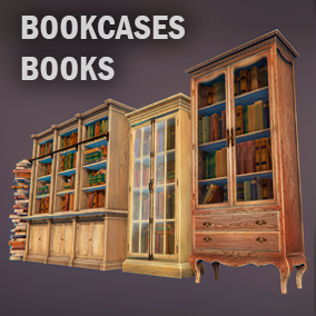 3 bookcases for any your project. low-poly, PBR.