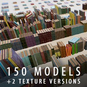 100 book models with the different covers +50 pre-built stacks and heaps