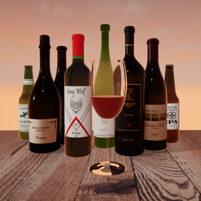 A set of 8 photo-realistic wine and beer bottles for use in your scenes.
