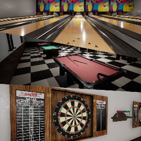 Contains High Quality Bowling, Pool and Darts Assets: Some Background Props, Balls, Pool Tables, Bowling Line, Darts Center and so on.