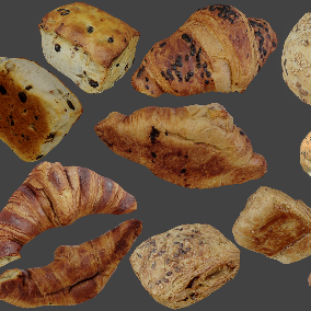 Collection of 8 Photogrammetry Scans of Breads and Pastry, perfect for Decoration