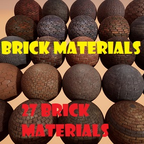 A pack of 27 Brick PBR Materials.