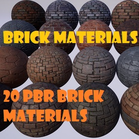 A pack of 20 Brick PBR Materials.