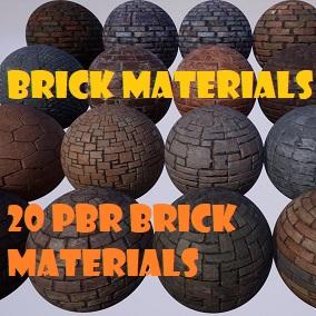 A pack of 20 Brick PBR Materials.