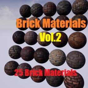 A pack of 25 Brick PBR Materials.
