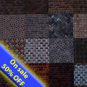 A pack of 32 Brick PBR Materials with Distance Based Tessellation