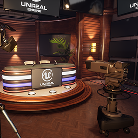 A flexible set of props and materials you can use to create a customized broadcast studio environment.