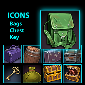 Set of 60 hand drawn bags,keys,chests icons.