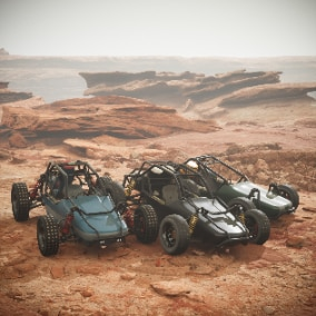 Playable 3 Buggies. Realistic complex suspension. 4K Textures. Ready to use as a Pawn.