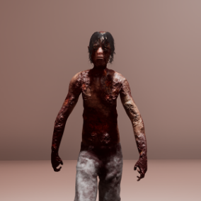 Burnt creepy man ready for use in Horror Games