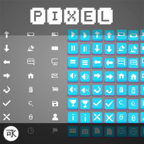 A pack of pixel buttons and icons.
