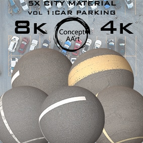 5 AAA quality City/Parking Areas Materials for all platforms. All Textures have their own 8K,4K,2K and 1K version and ready for every kind of project.