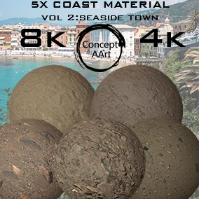 5 Super Realistic Coast Materials for all platforms. All Textures have their own 8K,4K,2K and 1K version and ready for every kind of project.