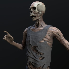 Corpse character for use in level design