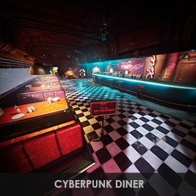 Cyberpunk Diner environment with 102 meshes, custom collisions and dirty neon aesthetics