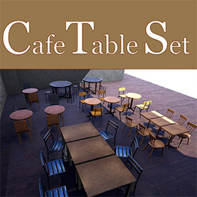 There are five kinds of table sets that are installed in a cafe.