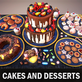 Here you can find a lot of tasty desserts, cakes, biscuits, rolls, candies and ice creams.