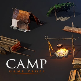 Camp - Game Props contains a set of assets to help you build a camp site for any medieval or survival type game.
