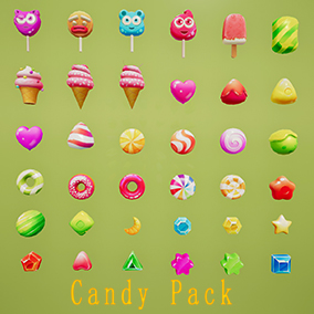 36 models of high quality candy, ice cream, lollipop and so on can be added to any game.