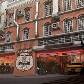 This is an asset pack featuring a Car Service Garage in an industrial city area.