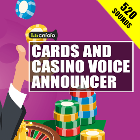 520 high-quality male voice words and phrases for casino, card games, board games, sports etc.