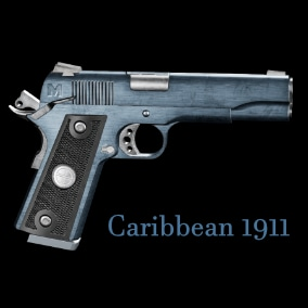 Classic 45 Caliber 1911 Government Issued Pistol in Caribbean Blue. Fully Animated and Blueprinted.