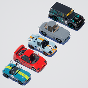 5 high detail cartoon style 3D models of classic cars.