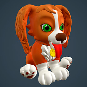 "Low poly model ""Cartoon Dog"" was made for cartoon games."