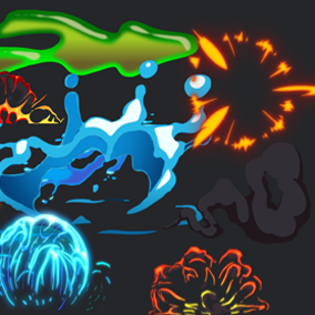 Cartoon Effects Sprite Sheet Animations Explosions Fire Water Smoke Flashes Stylized