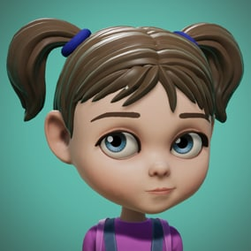Cartoon Girl, stylized character.