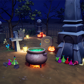 Cartoon stylized graves and cemetery assets.