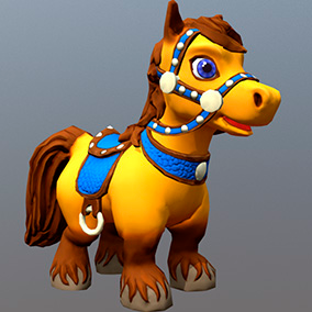 "Low poly model ""Cartoon Horse"" was made for cartoon games."