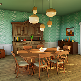 Modular suburban house interior with a colorful cartoon theme. Highly optimized, perfect for VR or mobile games.