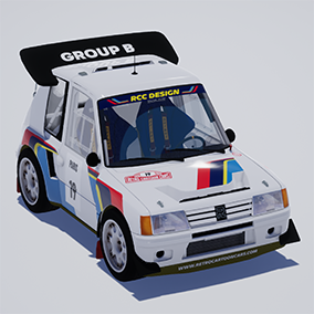 Driveable cartoon style rally car model from 1986.