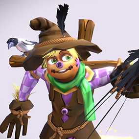 "Low poly model ""Cartoon Scarecrow"" was made for cartoon games."