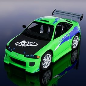 Cartoon style model of Japanese sports car from 1995.