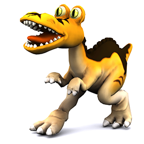Low poly model of a cartoon tyrannosaurus.