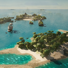 Create and Discover wonderful world locations in The Cartoon World assets series starting with the Island pack.  The pack features  +50 assets dedicated to the creation of immersive islands