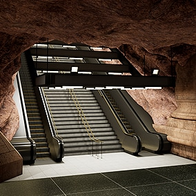 Metro station modular kit. Inspired from the Stockholm subway. Although the metro station is inside the Cave, the upper floor is a modern building.